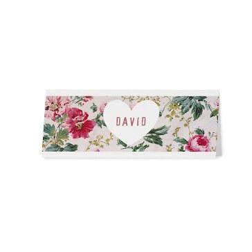 Tischkarte mit Blüten Aufdruck