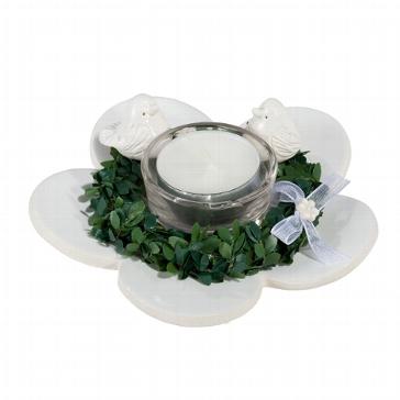 Blumen-Untersetzer mit Vögeln, Myrtekranz und Teelichtglas