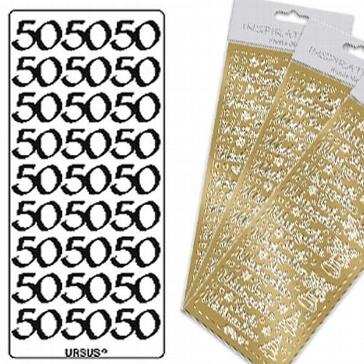 """Sticker """"50"""" gold"""