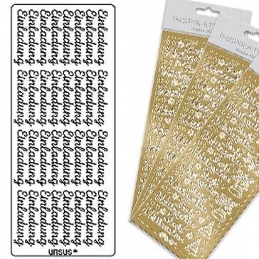 Sticker Einladung gold
