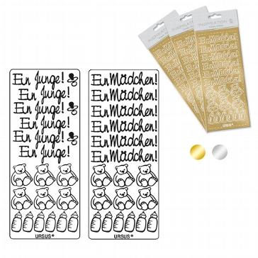 """Sticker """"Mädchen"""", gold"""