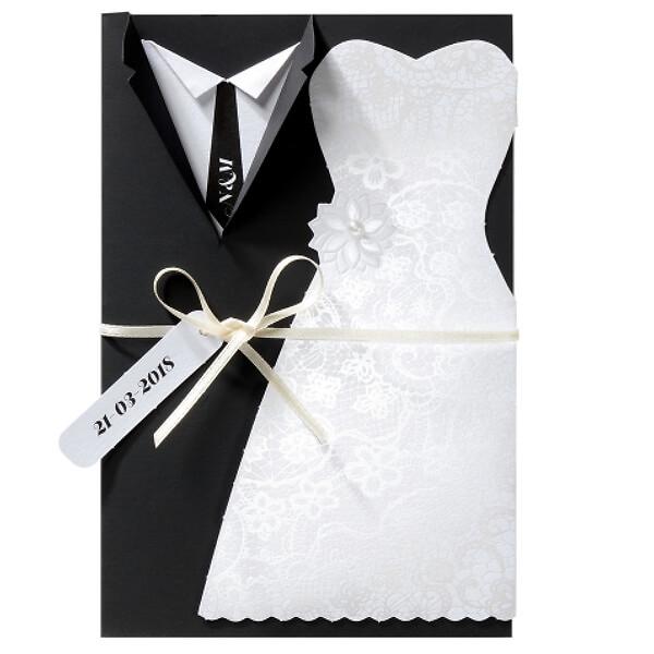 Hochzeitseinladung viola mit brautpaar in schwarz und - Hochzeitseinladung text modern ...