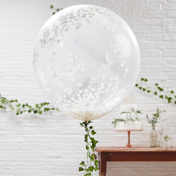 xxl ballons mit konfetti wei 3 st. Black Bedroom Furniture Sets. Home Design Ideas