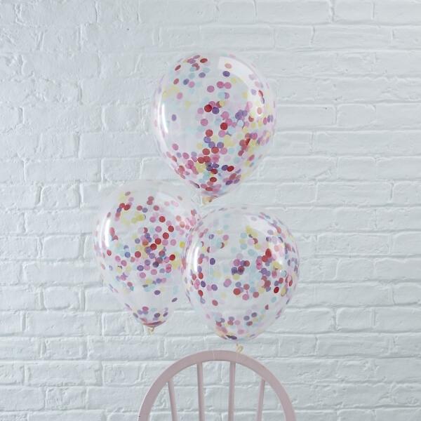 ballons mit konfetti bunt 5 st. Black Bedroom Furniture Sets. Home Design Ideas