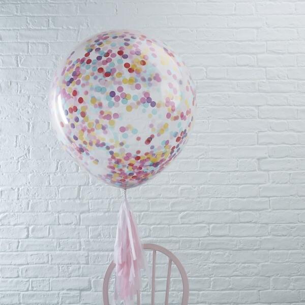 xxl ballons mit konfetti bunt 3 st. Black Bedroom Furniture Sets. Home Design Ideas