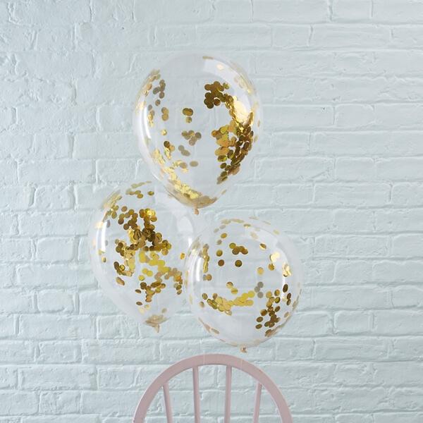 ballons mit konfetti gold 5 st. Black Bedroom Furniture Sets. Home Design Ideas