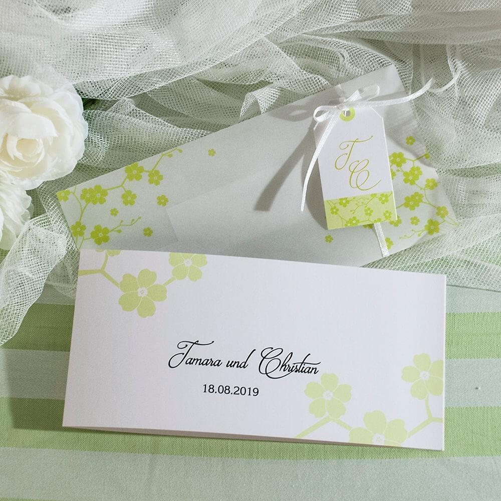Einladungskarte Tamara Mit Grunen Blumchen Weddix De