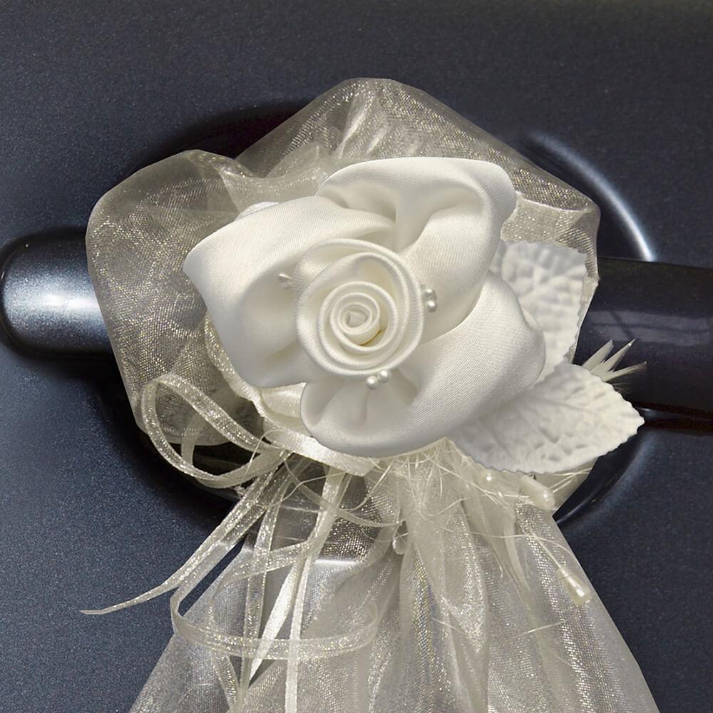 Hochzeitsdeko auto rose 2 st creme Hochzeitsdeko creme