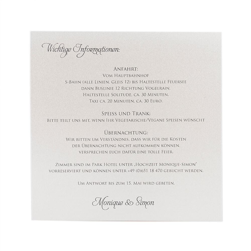 Einleger Hochzeitseinladungen 14,8 X 14,8 Cm