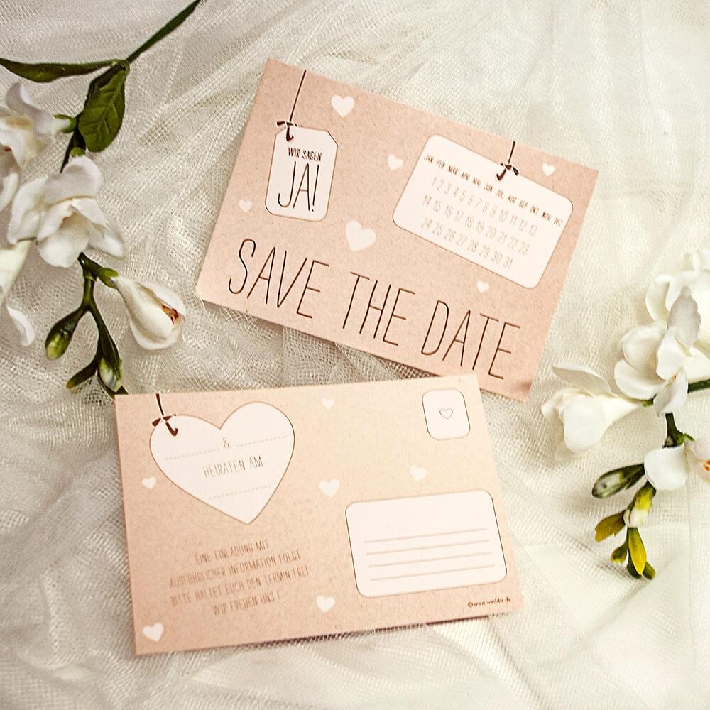 Save The Date Karten Vintage.Save The Date Karte Ja In Kraftpapieroptik