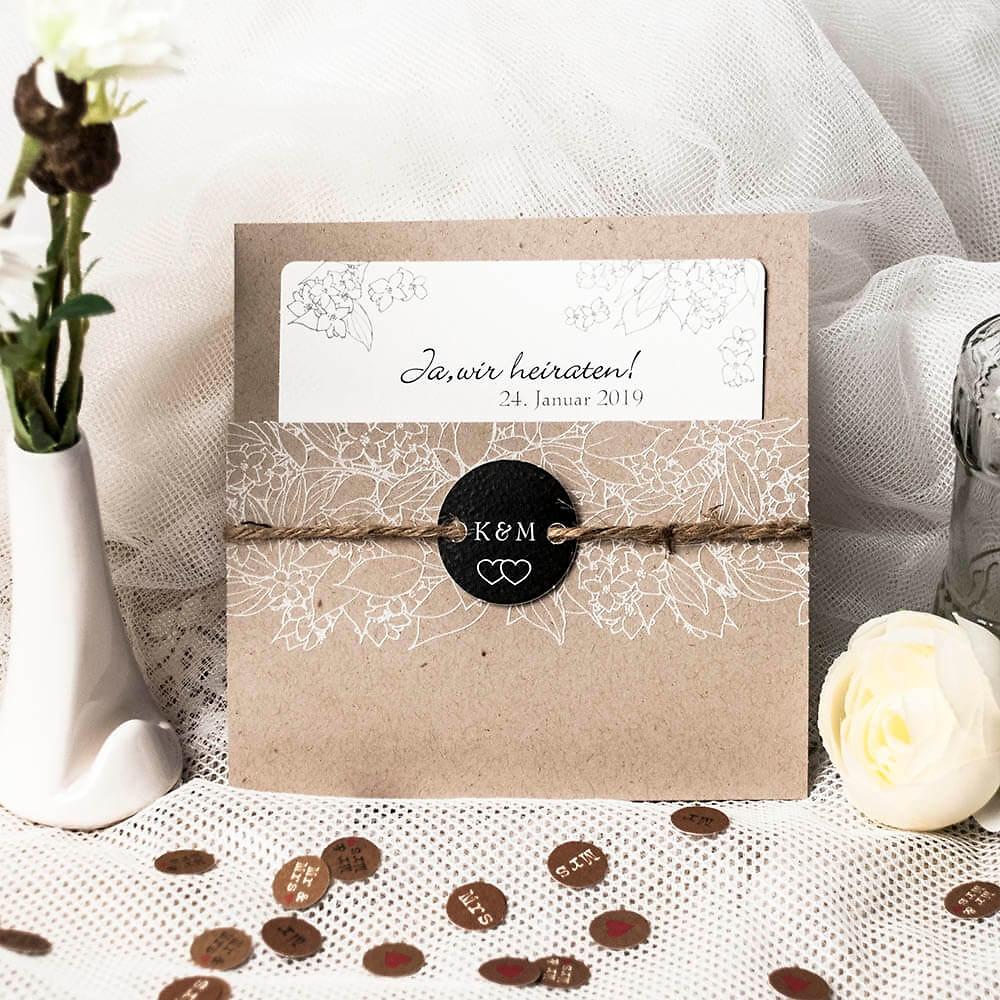Einladungskarte Hochzeit Rosie Natur Weddix De