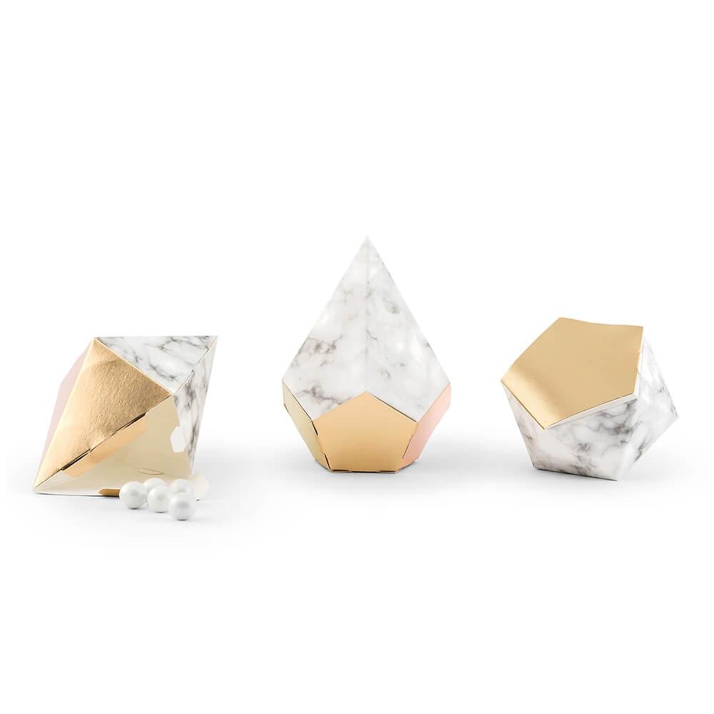 gastgeschenk schachtel marmor gold 12 st. Black Bedroom Furniture Sets. Home Design Ideas
