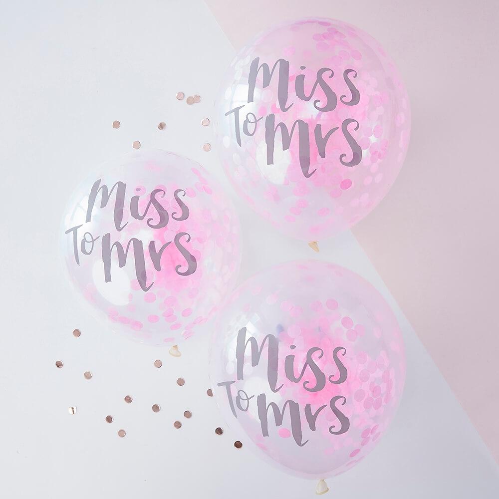 ballons mit konfetti miss to mrs pink 5 st. Black Bedroom Furniture Sets. Home Design Ideas