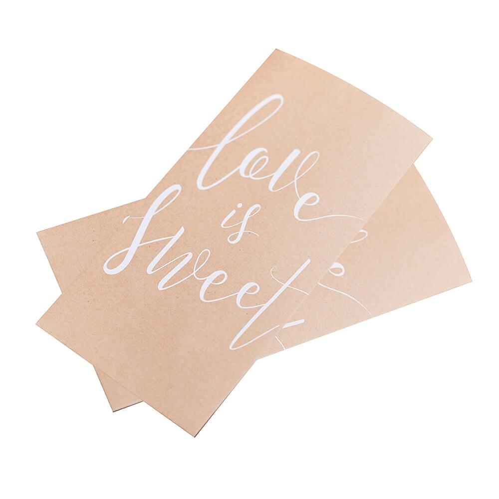 gastgeschenk t ten kraftpapier love is sweet 20 st. Black Bedroom Furniture Sets. Home Design Ideas