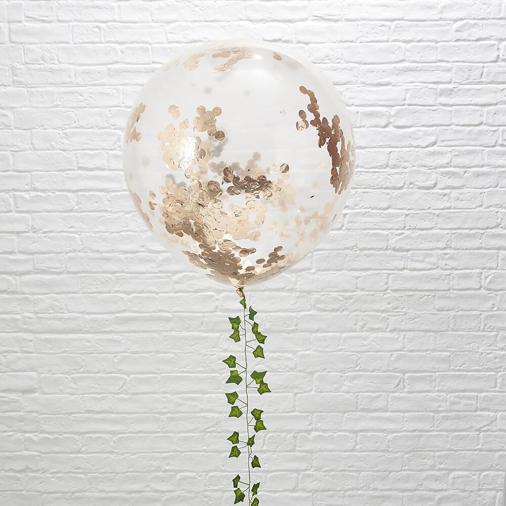 xxl ballons mit konfetti ros gold ca 91 cm 3 st. Black Bedroom Furniture Sets. Home Design Ideas