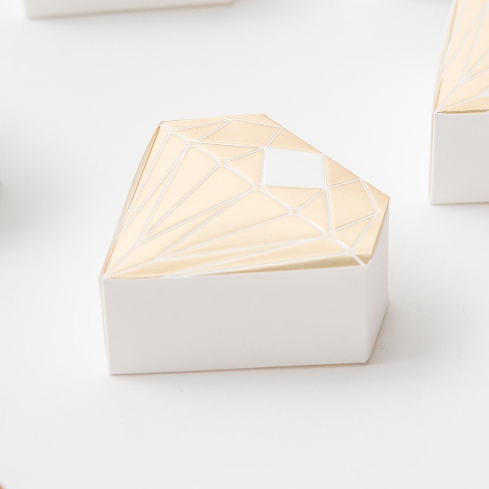Gastgeschenk Schachtel Diamant, gold, 10 St. - weddix.de