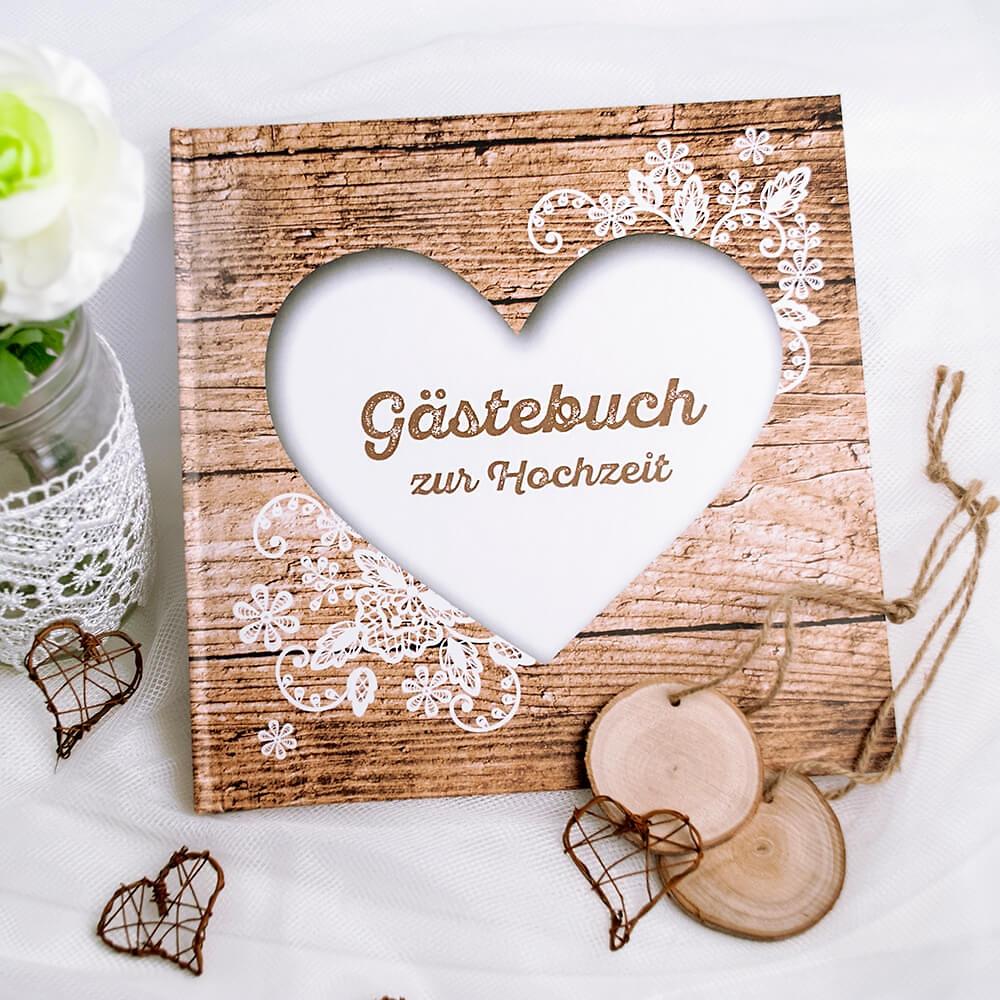 Elegant Gästebuch Hochzeit Seite Gestalten Foto Von Gästebuch Herzenssache In Holzoptik
