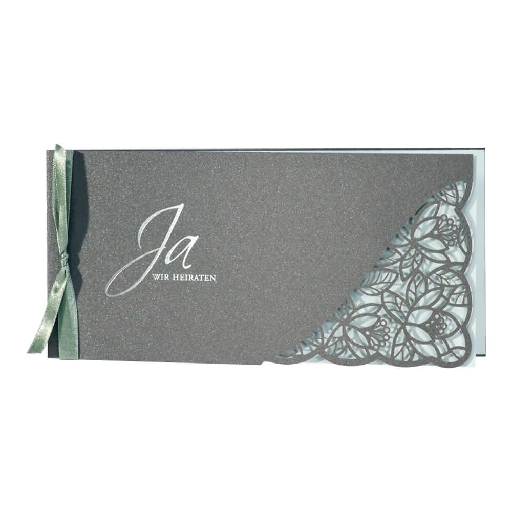 einladungskarte hochzeit avaline grau gr n klappkarte mit bl ten. Black Bedroom Furniture Sets. Home Design Ideas