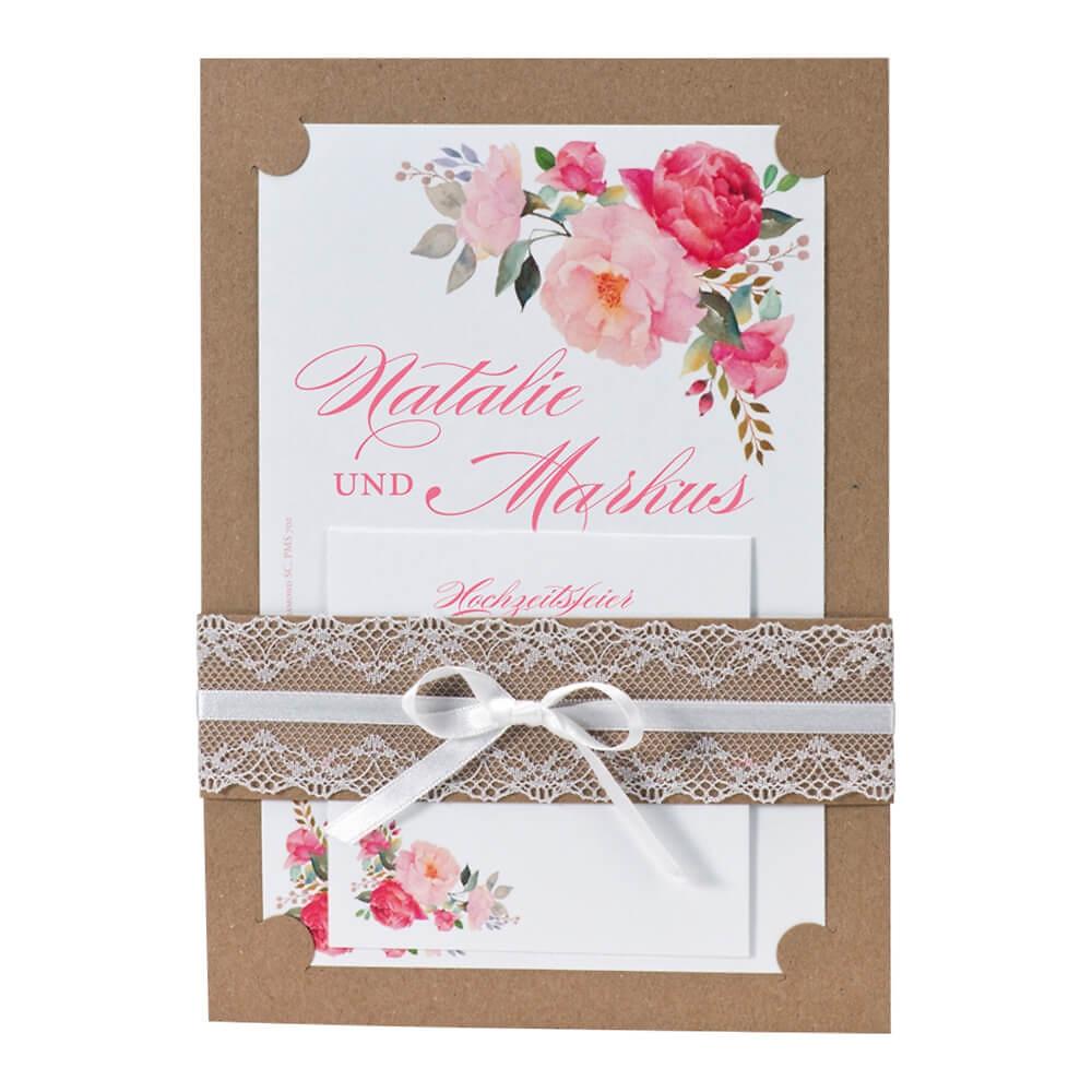Hochzeitseinladung Fleur Rosa Kraftpapier Mit Spitze Und Bluten