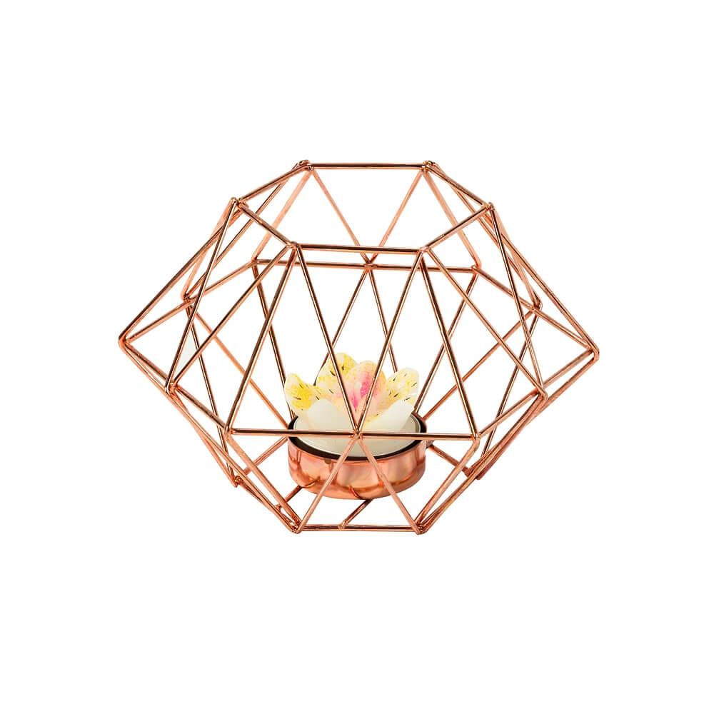 kerzenhalter geometric design kupfer 15 x 10 cm. Black Bedroom Furniture Sets. Home Design Ideas