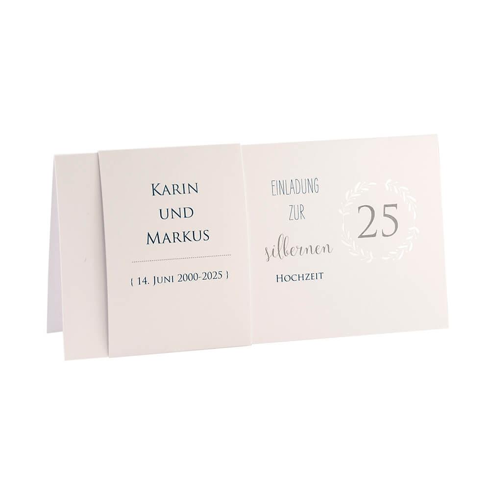 """einladung silberhochzeit """"karin"""", silber, klappkarte mit"""