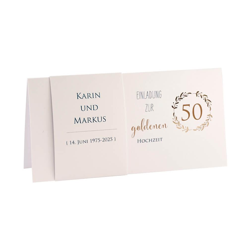 Einladung Goldene Hochzeit Karin Gold Klappkarte Mit Banderole