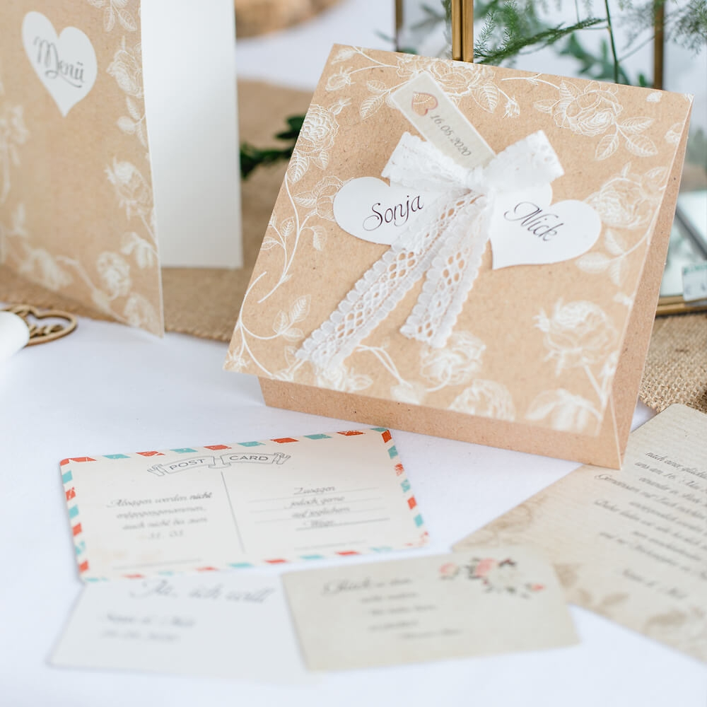Hochzeitseinladung Marcella In Kraftpapier Mit 4 Einsteckkarten