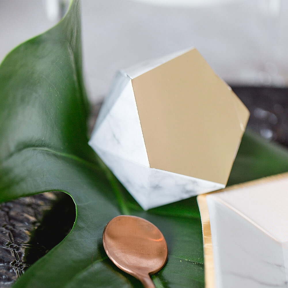 Gastgeschenk Schachtel Marmor Gold 12 St Weddixde
