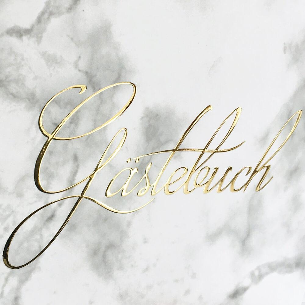 Gästebuch Hochzeit Marmor Heißfolienprägung In Gold