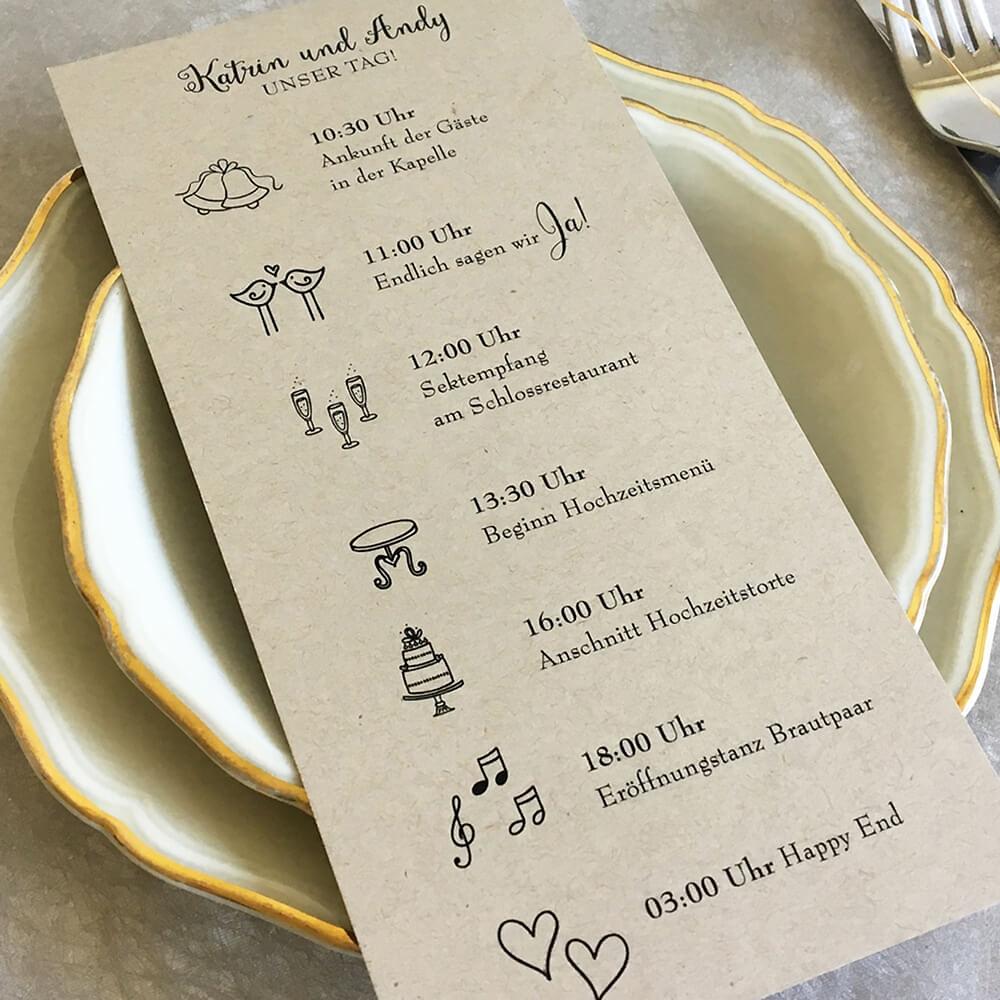 Programmkarte Fur Die Hochzeit Kraftpapier 21 X 10 Cm Weddix De