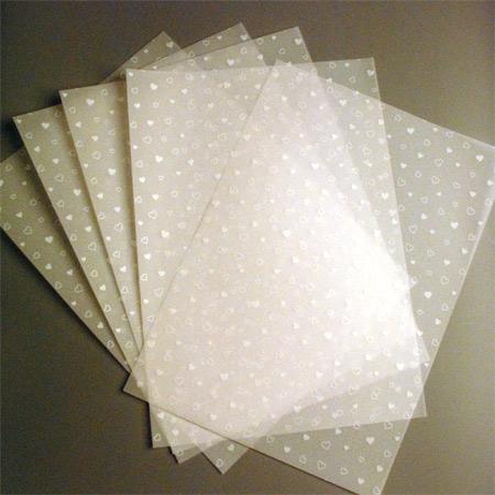 blankokarten 5 blatt transparentpapier weisse herzen. Black Bedroom Furniture Sets. Home Design Ideas