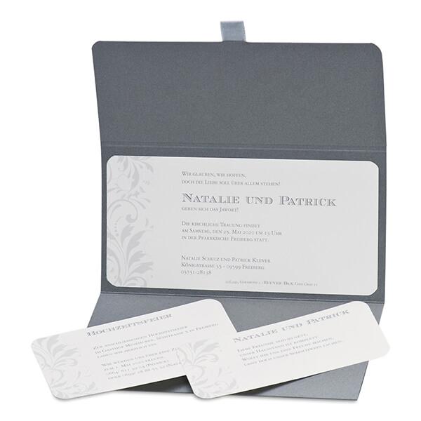 """einladungskarte hochzeit """"nathalie"""" in grau-silber tönen - weddix.de, Einladung"""