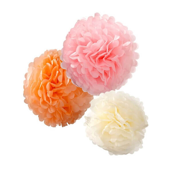 pompoms fluffy in rosa apricot creme als hochzeitsdeko. Black Bedroom Furniture Sets. Home Design Ideas