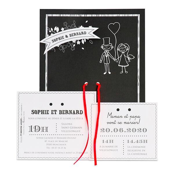 Einladungskarte Mit Karikatur. Hochzeitseinladung Bianca In Schwarz