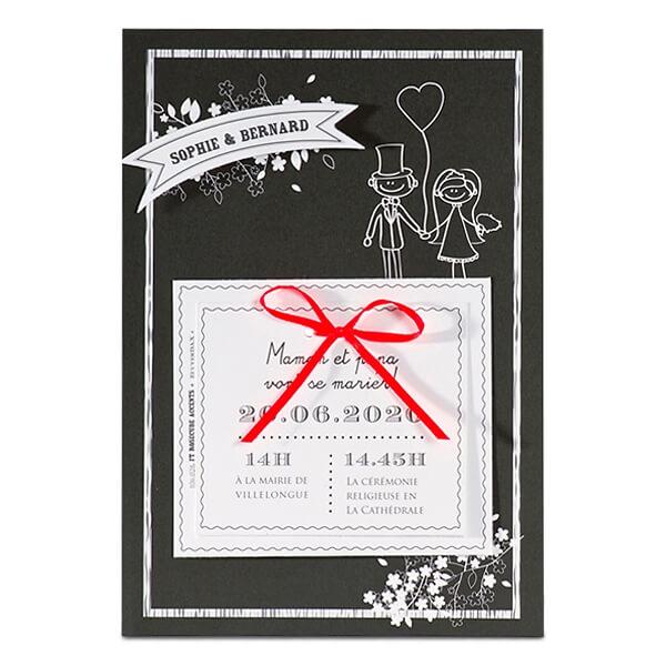 Einladung Zur Hochzeit In Schwarz Mit Karikatur