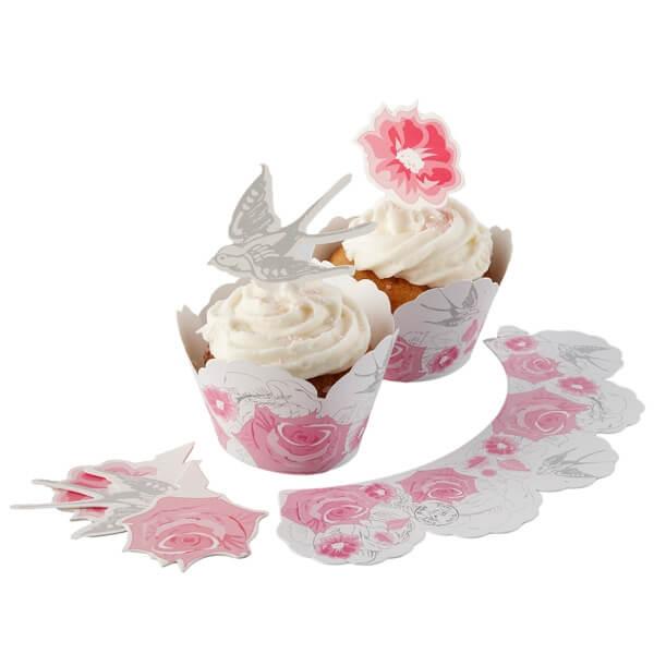 cupcake deko romantic rose zur hochzeit