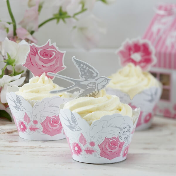 cupcake deko romantic rose zur hochzeit. Black Bedroom Furniture Sets. Home Design Ideas