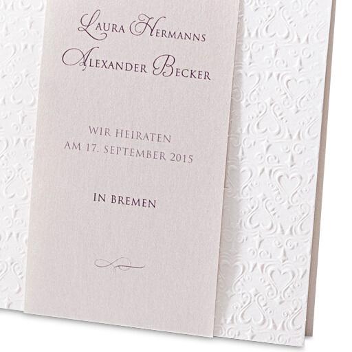 Hochzeitskarte Anni In Weiß · Hochzeitseinladungskarte Anni