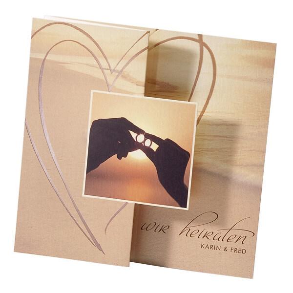 Hochzeitseinladung Barbara Romantische Karte Mit Perlmuttfarbenem