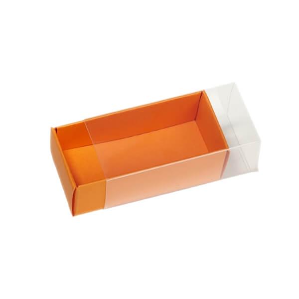 faltschachtel transparent orange gastgeschenk zur. Black Bedroom Furniture Sets. Home Design Ideas