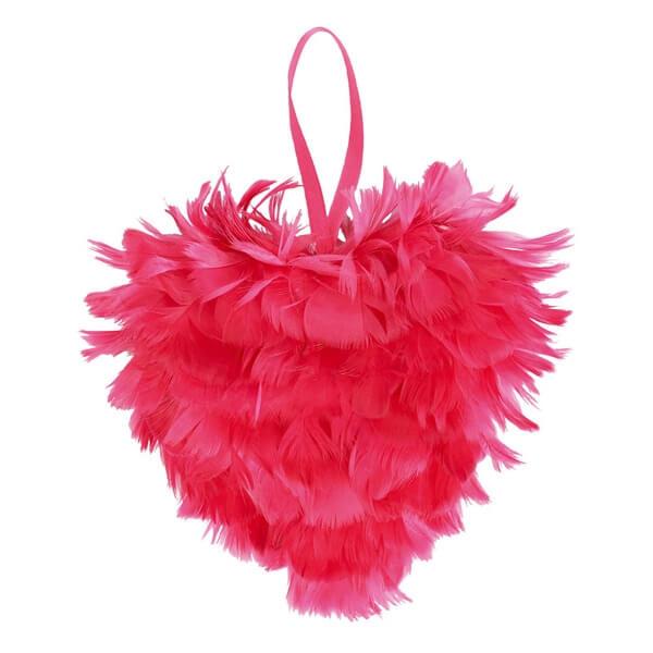 Federherz Pink Zur Hochzeitsdeko