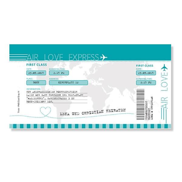 Hochzeitskarte Im Flugticketformat; Einladungskarte Zur Hochzeit Kendra