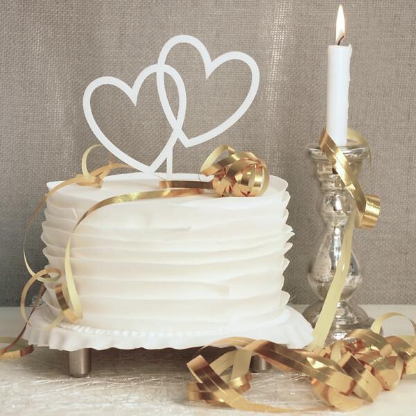 cake topper herzen wei. Black Bedroom Furniture Sets. Home Design Ideas