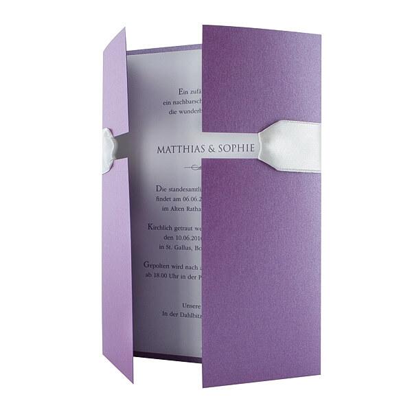 einladungskarte adele lila farbe zu ihrer hochzeit. Black Bedroom Furniture Sets. Home Design Ideas