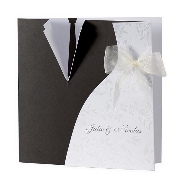 Einladungskarte Alina Schwarz Weisses Brautkleid Und Anzug