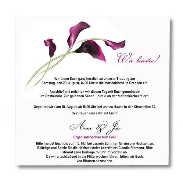 Einladungskarte Calla Innenansicht · Einladungskarte Calla ·  Hochzeitseinladung Calla ...