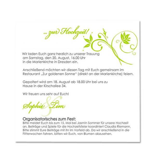 Hochzeitseinladung Denise · Einladungskarte Denise   Innenansicht