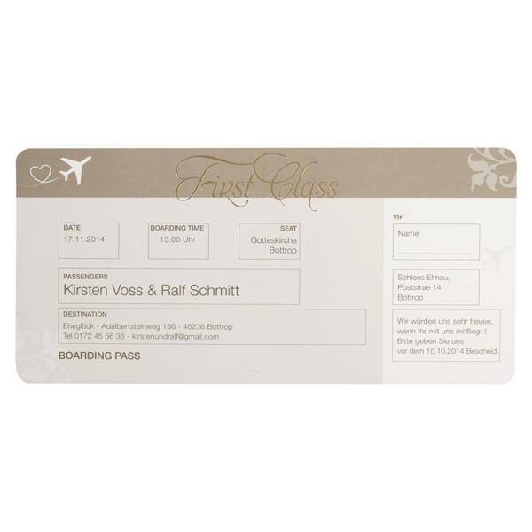 Hochzeitseinladung Flugticket Im Boardkarten Stil Weddix De