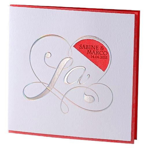 hochzeitseinladung kara weiss rot weiße einladungskarte mit silberner ...