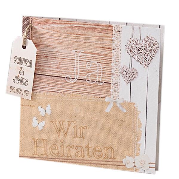 Hochzeitseinladungskarte Molly In Leinen Und Holzoptik Weddix De